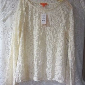 Joe fresh off white floral lace  top size XL